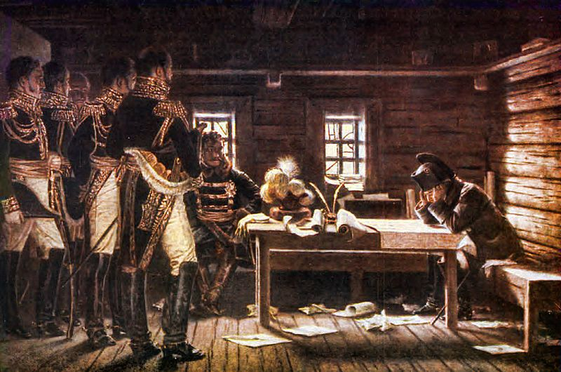 Наполеон на совете после сражения.