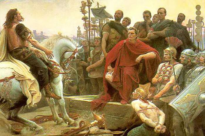Цезарь принимает капитуляцию своего противника Верцингеторигса, картина Л. Ройера.